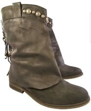 FREE PEOPLE WOMAN BOOTS NUBUCK CHARCOAL TASSEL SILVER WARE STUDS EUR 37