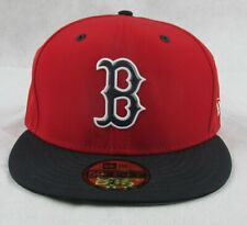 New Era Mens Red Boston Sox 59fifty Batting Practice Fitted Hat Size 7 3/8