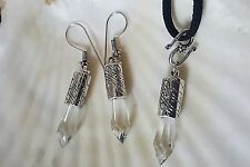 """Silver CRYSTAL Point Set EARRINGS 1.5""""  & PENDANT 18"""" Necklace """""""