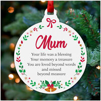 Christmas Memorial Decoration PERSONALISED Mum Dad Nan Mom Remembrance Ornament
