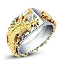 Vintage Dragon Ring Antique Men Diamond Engagement Ring White Gold Finish