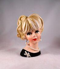 Vintage Napcoware C7472 Head Vase Japan Red Sticker Black Dress Pearls