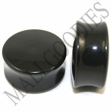 """0467 Double Flare Saddle Solid Black Acrylic Ear Plugs Earlets 1"""" Inch 25mm"""