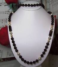 Black Onyx With 14k Gold Filled Beaded Necklace.B018