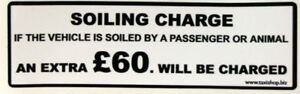 SOILING CHARGE DRUNK STICKER £60.00  Black on White background