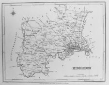 Old Antique Map Middlesex c1830's by Creighton / Walker for Lewis Engraving