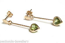 9ct Gold Peridot Heart Drop Earrings Made in UK Gift Boxed