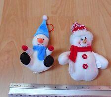2x Christmas Snowmen Hanging Ornaments