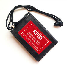 BLACK RFID BLOCKING LEATHER WALLET ID Badge Card Holder Zip Neck Strap NEW