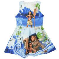 Summer Girls Deluxe Moana Costume Disney Hawaiian Cos Princess Fancy Dress Skirt