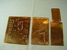 4 x JJ alte Merkenthaler Monogramme, Kupfer Schablonen, Stencils, Patrons broder