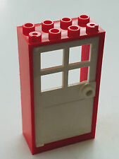 *NEW* 1 Set LEGO 2x4x6 RED Frame & WHITE Door with 4 PANES 60599