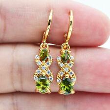 18K Yellow Gold Filled Women Teardrop Olive Topaz Zircon Gems Drop Earrings