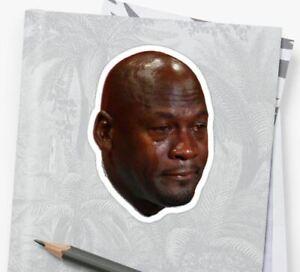 "Michael Jordan Crying Sticker - Laptop Sticker - 4"" x 2.8"""