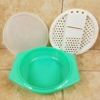 Tupperware Jadite Green Grater Set Shredder Bowl Lid 3-pieces #786 #787 #230 VTG
