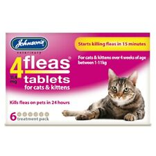 JOHNSON'S 4 FLEAS CATS, KITTENS 6 TREATMENT PACK STARTS KILLING FLEAS IN 15 MINS