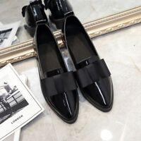 Women Casual Pointed Toe Shoes Slip On Wear Flat Type Faux Leather Rubber Soles