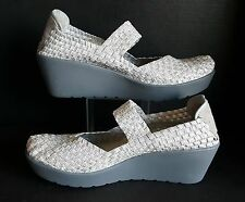 Steve Madden Steven BRICE Sz 10 Shoes Silver Stretch Web Mary Jane Wedge Heel