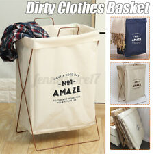 Larger Laundry Basket Fabric Hamper Wash Clothes Storage Bin Organiser Deluxe UK
