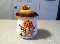Vintage Sears Ceramic Tea Canister Merry Mushrooms Shape Embossed Kitchen
