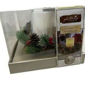 Apothecary & Company LED Holiday Wreath with Flameless Candle, NIB