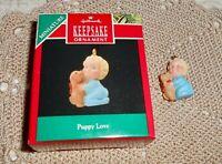 Hallmark Miniature Keepsake Christmas Ornament 1990 PUPPY LOVE   H11