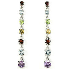 Sterling Silver 925 Long Genuine Natural Multi Colour Gemstone Earrings #2