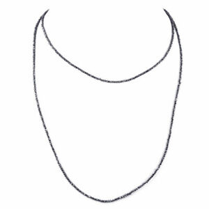 """AAA 2 mm Necklace Christmas Crises Offer 18"""" Inches Round Black Diamond Beads"""