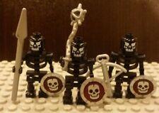 Lego NEW Castle Set/3 Custom Fantasy Era Black Skeleton Warrior Minifigs
