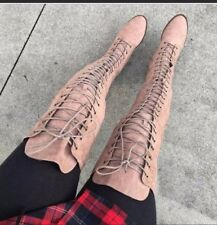 Taupe ULTRA-SUEDE Lace Up thigh high Over the knee OTK boots Size 8.5