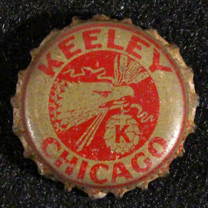 KEELEY •RARE UNLISTED• CORK LINED BEER BOTTLE CAP CHICAGO ILLINOIS CROWN VINTAGE