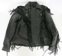 MENS HUDSON LEATHER BLACK MOTORCYCLE JACKET W/ FRINGE & ZIP OUT LINING SIZE 46