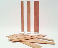 Lot de 12 mèches en bois pour bougies – largeur «small» - avec support