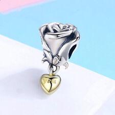 Love roses Silver CZ European Charm Beads Fit 925 Pendant Necklace Bracelet