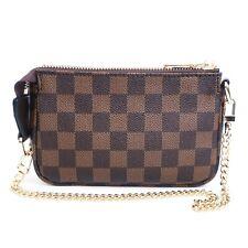 Checkered Pochette Mini Handbag with Detachable Crossbody & Short Chain (Brown)