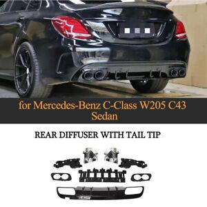 Heckdiffusor W/ Silber Endrohr Auspuffblenden für Mercedes W205 C200 Limo 15-19