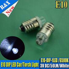 4X 3Volt. E10 Lamp LED Bulb 3V 6000K White MES 1447 Screw for Torch bike bicycle