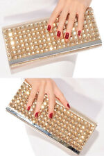 Sexy Women's Gold Rhinestone Studded Flap Clutch Bag Bling Fashion