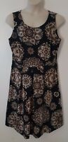 Studio I Black Brown Floral Print Sleeveless Fitted A-Line Dress Plus Size 16