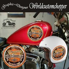3 ADESIVI STICKERS IN STAMPA DIGITALE GASOLINE HARLEY DAVIDSON STILE VINTAGE