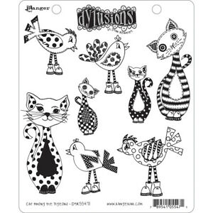 """Dyan Reaveley's Dylusions Cling Stamp Collections 8.5""""X7""""-Cat Among Pigeons"""