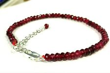 Beautiful sparkly 4mm faceted natural garnet bracelet 7 - 8.5 inches