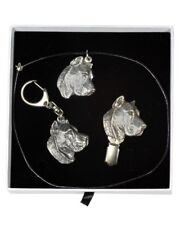 Key ring with a dog Solid key pendant Gift Box available Presa Canario Perro de Presa Canario Keyring Gold plated keychain