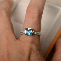2Ct Cushion Cut Aquamarine Solitaire Engagement Ring Solid 18K White Gold Finish