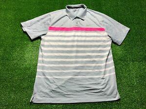 Nike Dri-Fit Golf Men's Short Sleeve Polo Shirt Large Gray Striped Trophy Club
