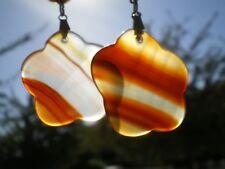 Rare Boucles d'Oreilles en Agate de Feu Géant 35 cts !! ( Tibet )