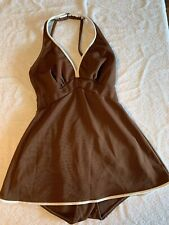 Vintage 60s 70s One Piece Bathing Suit Volup 13/14 Swimdress Polyester 1pc