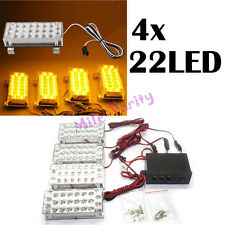 4x 22 LED 88 LED Car Truck Amber Strobe Light Emergency Flashing Warning Yellow