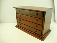 Hand Made Vintage Wooden Jewelry Box / Trinket /Storage W/ 4 Drawers 15x10x8""