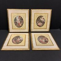 Set of 4 Vintage Italian Wall Art Wood Plaque Pictures Florentine Toleware Tole